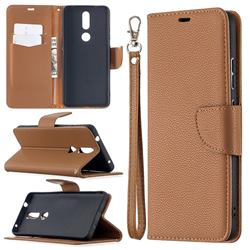 Classic Luxury Litchi Leather Phone Wallet Case for Nokia 2.4 - Brown