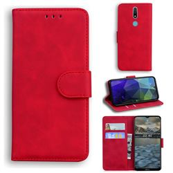Retro Classic Skin Feel Leather Wallet Phone Case for Nokia 2.4 - Red