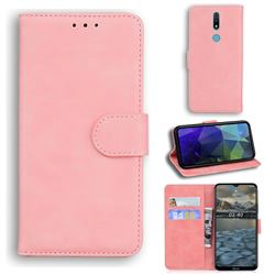Retro Classic Skin Feel Leather Wallet Phone Case for Nokia 2.4 - Pink