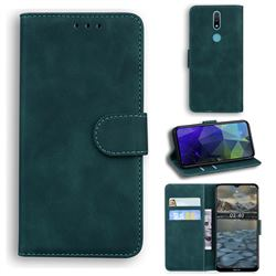 Retro Classic Skin Feel Leather Wallet Phone Case for Nokia 2.4 - Green