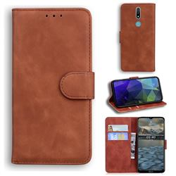 Retro Classic Skin Feel Leather Wallet Phone Case for Nokia 2.4 - Brown