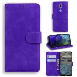 Retro Classic Skin Feel Leather Wallet Phone Case for Nokia 2.4 - Purple