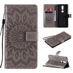 Embossing Sunflower Leather Wallet Case for Nokia 2.4 - Gray