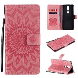 Embossing Sunflower Leather Wallet Case for Nokia 2.4 - Pink