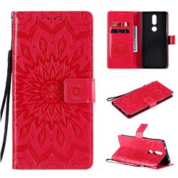 Embossing Sunflower Leather Wallet Case for Nokia 2.4 - Red