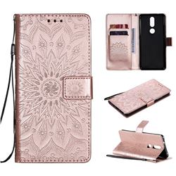 Embossing Sunflower Leather Wallet Case for Nokia 2.4 - Rose Gold