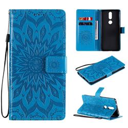 Embossing Sunflower Leather Wallet Case for Nokia 2.4 - Blue