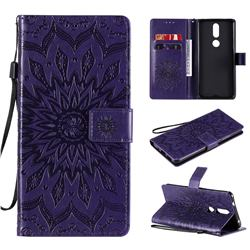 Embossing Sunflower Leather Wallet Case for Nokia 2.4 - Purple