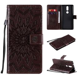 Embossing Sunflower Leather Wallet Case for Nokia 2.4 - Brown