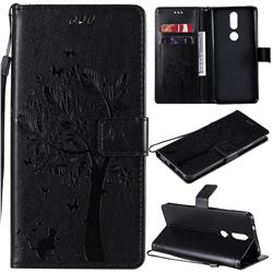 Embossing Butterfly Tree Leather Wallet Case for Nokia 2.4 - Black
