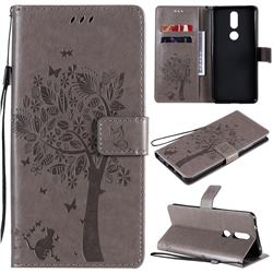 Embossing Butterfly Tree Leather Wallet Case for Nokia 2.4 - Grey