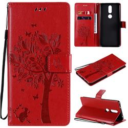Embossing Butterfly Tree Leather Wallet Case for Nokia 2.4 - Red