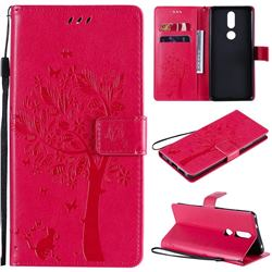 Embossing Butterfly Tree Leather Wallet Case for Nokia 2.4 - Rose