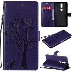 Embossing Butterfly Tree Leather Wallet Case for Nokia 2.4 - Purple