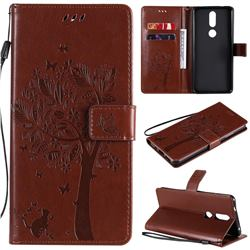 Embossing Butterfly Tree Leather Wallet Case for Nokia 2.4 - Coffee