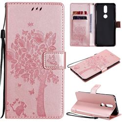 Embossing Butterfly Tree Leather Wallet Case for Nokia 2.4 - Rose Pink