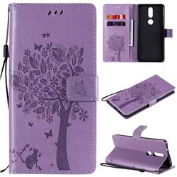 Embossing Butterfly Tree Leather Wallet Case for Nokia 2.4 - Violet