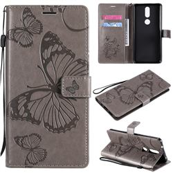 Embossing 3D Butterfly Leather Wallet Case for Nokia 2.4 - Gray