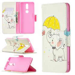 Umbrella Elephant Leather Wallet Case for Nokia 2.4