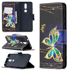 Golden Shining Butterfly Leather Wallet Case for Nokia 2.4