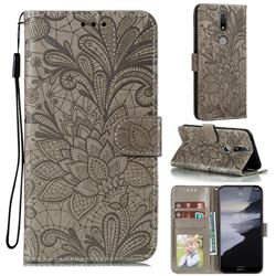 Intricate Embossing Lace Jasmine Flower Leather Wallet Case for Nokia 2.4 - Gray