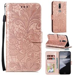 Intricate Embossing Lace Jasmine Flower Leather Wallet Case for Nokia 2.4 - Rose Gold