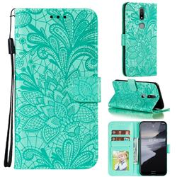 Intricate Embossing Lace Jasmine Flower Leather Wallet Case for Nokia 2.4 - Green