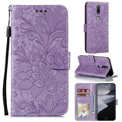 Intricate Embossing Lace Jasmine Flower Leather Wallet Case for Nokia 2.4 - Purple