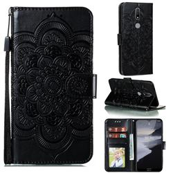 Intricate Embossing Datura Solar Leather Wallet Case for Nokia 2.4 - Black