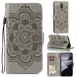 Intricate Embossing Datura Solar Leather Wallet Case for Nokia 2.4 - Gray