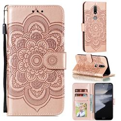 Intricate Embossing Datura Solar Leather Wallet Case for Nokia 2.4 - Rose Gold