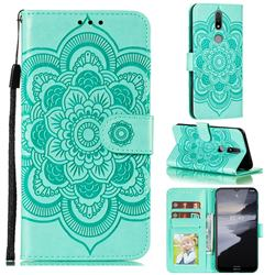 Intricate Embossing Datura Solar Leather Wallet Case for Nokia 2.4 - Green