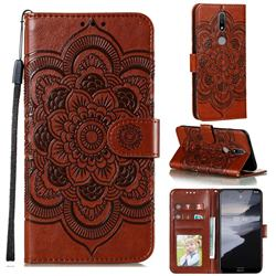 Intricate Embossing Datura Solar Leather Wallet Case for Nokia 2.4 - Brown