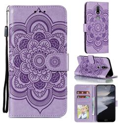 Intricate Embossing Datura Solar Leather Wallet Case for Nokia 2.4 - Purple