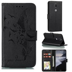 Intricate Embossing Lychee Feather Bird Leather Wallet Case for Nokia 2.4 - Black