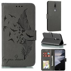 Intricate Embossing Lychee Feather Bird Leather Wallet Case for Nokia 2.4 - Gray