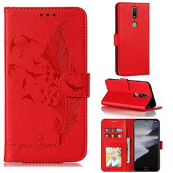 Intricate Embossing Lychee Feather Bird Leather Wallet Case for Nokia 2.4 - Red