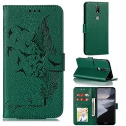 Intricate Embossing Lychee Feather Bird Leather Wallet Case for Nokia 2.4 - Green