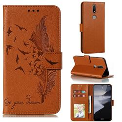 Intricate Embossing Lychee Feather Bird Leather Wallet Case for Nokia 2.4 - Brown