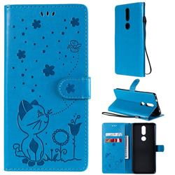 Embossing Bee and Cat Leather Wallet Case for Nokia 2.4 - Blue