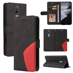 Luxury Two-color Stitching Leather Wallet Case Cover for Nokia 2.4 - Black