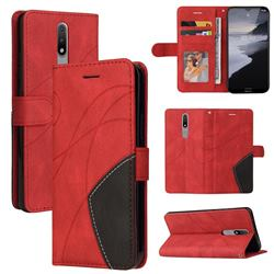 Luxury Two-color Stitching Leather Wallet Case Cover for Nokia 2.4 - Red