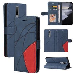 Luxury Two-color Stitching Leather Wallet Case Cover for Nokia 2.4 - Blue