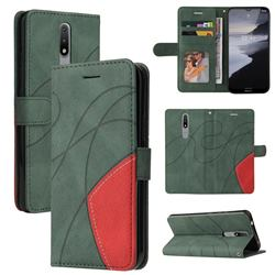 Luxury Two-color Stitching Leather Wallet Case Cover for Nokia 2.4 - Green