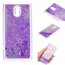 Glitter Sand Mirror Quicksand Dynamic Liquid Star TPU Case for Nokia 3 Nokia3 - Purple