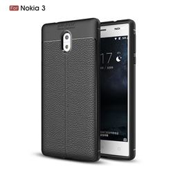 Luxury Auto Focus Litchi Texture Silicone TPU Back Cover for Nokia 3 Nokia3 - Black