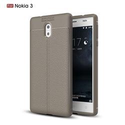 Luxury Auto Focus Litchi Texture Silicone TPU Back Cover for Nokia 3 Nokia3 - Gray