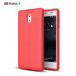 Luxury Auto Focus Litchi Texture Silicone TPU Back Cover for Nokia 3 Nokia3 - Red