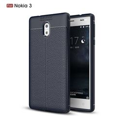 Luxury Auto Focus Litchi Texture Silicone TPU Back Cover for Nokia 3 Nokia3 - Dark Blue