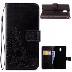 Embossing Imprint Four-Leaf Clover Leather Wallet Case for Nokia 3 Nokia3 - Black
